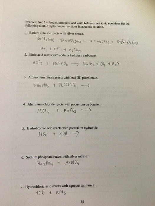 Double replacement metathesis reactions answers