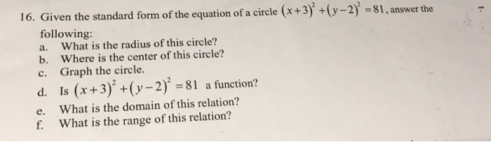 Given The Standard Form Of The Equation Of Circle Chegg