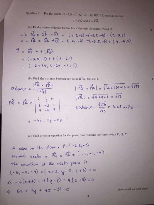 how to find normal vector given three points