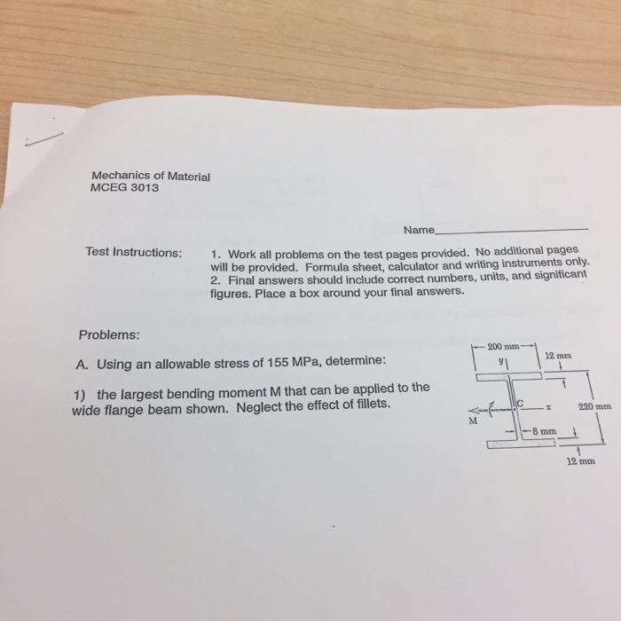 Mechanics of Material MCEG 3013 Name Test