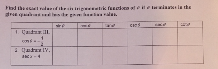 how to find the exact value of six trigonometric functions