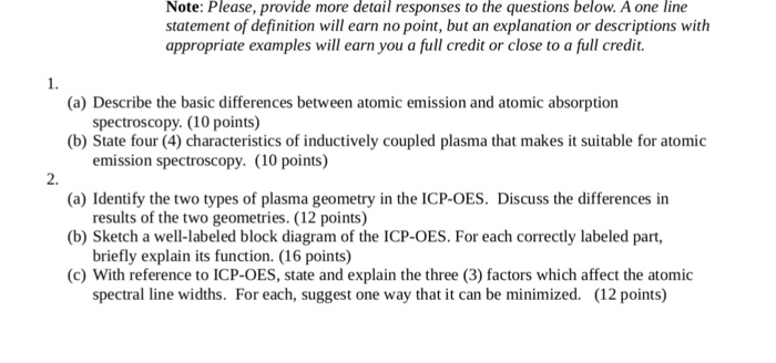 Describe the basic differences between atomic emis chegg note please provide more detail responses to the questions below a one line sciox Choice Image