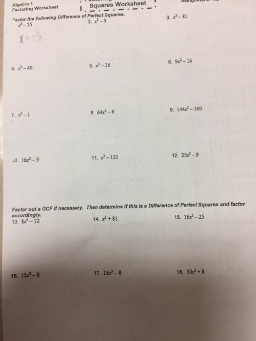 Factoring difference of squares worksheet answers algebra 1