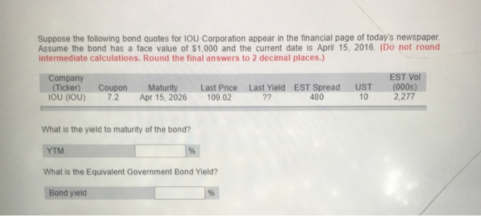 Finance archive november 28 2017 chegg suppose the following bond quotes for iou corporation appear in the financial page of todays newspaper fandeluxe Images