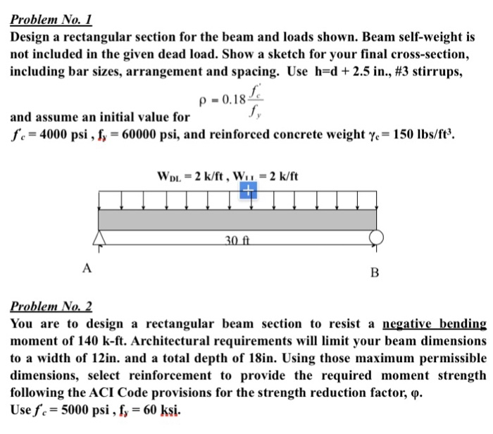 Solved: Design A Rectangular Section For The Beam And Load ...