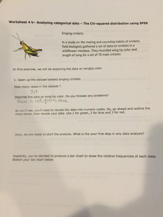Solved Worksheet 4 B Analyzing Categorical Data The Chi