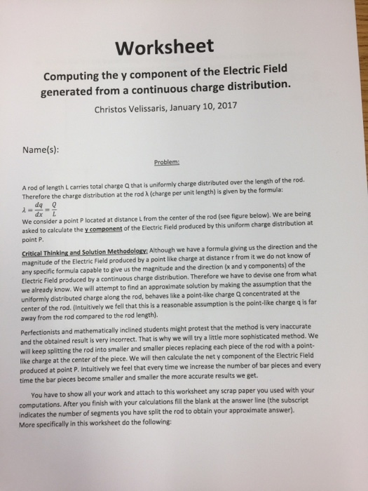 Worksheet Computing The Y Component Of The Electri – Electric Field Worksheet