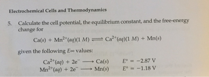 thermodynamics of electrochemical cells pdf