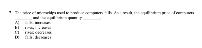 Question: The price of microchips used to produce computers falls. As a result, the equilibrium price of co...