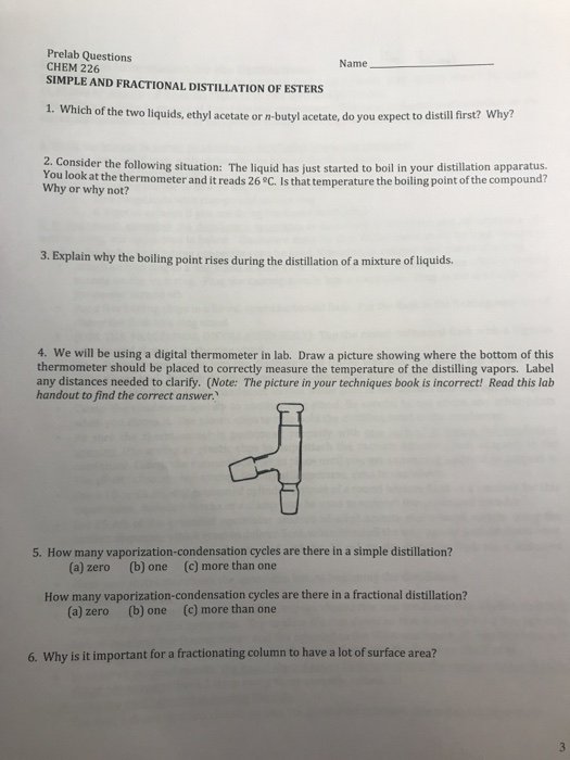 Solved: Prelab Questions CHEM 226 SIMPLE AND FRACTIONAL DI ...