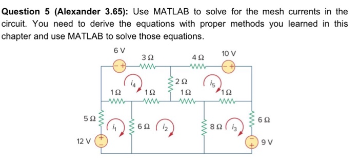 question alexander use matlab to solve f com question 5 alexander 3 65 use matlab to solve for the mesh currents in
