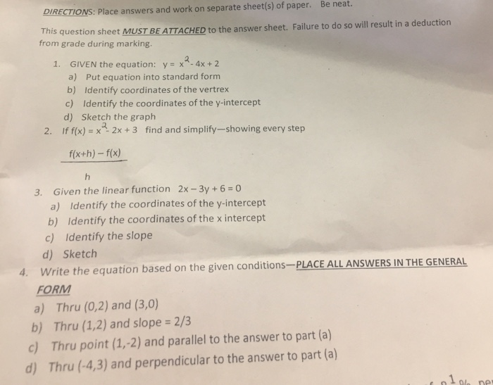 Algebra archive march 17 2017 chegg directions place answers and work on separate of paper be neat sheet fandeluxe Gallery
