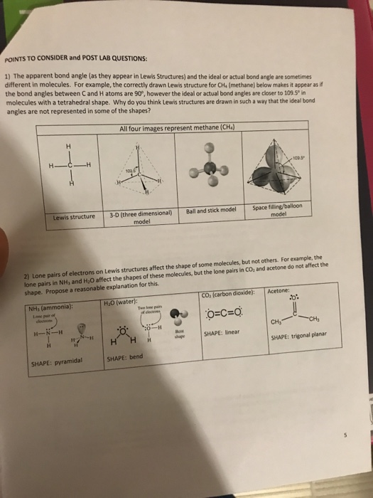 Chemistry archive october 09 2017 chegg points to consider and post lab questions 1 the apparent bond angle as fandeluxe Images