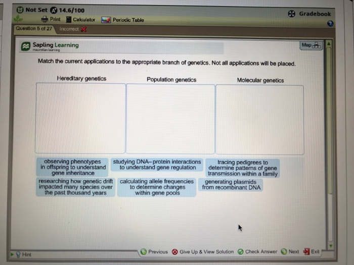 0 not set 146100 gradebook periodic table question 5 cf 27 sapling learning match - Periodic Table Applications