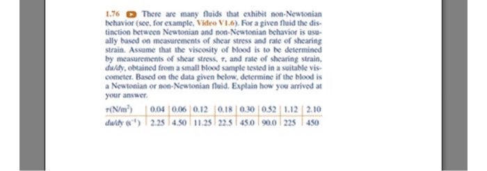 Solved There Are Many Fluids That Exhibit Non Newtonian B