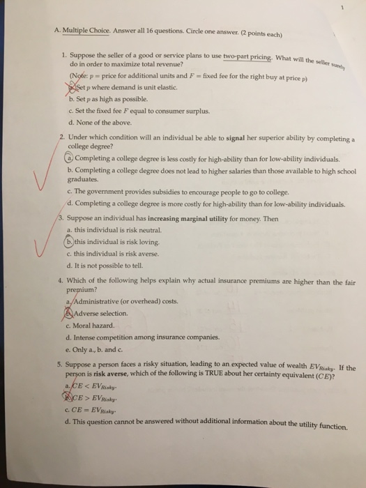 Question: A. Multiple Choice. Answer all 16 questions. Circle one answer. 2 points each) 1. Suppose the sel...