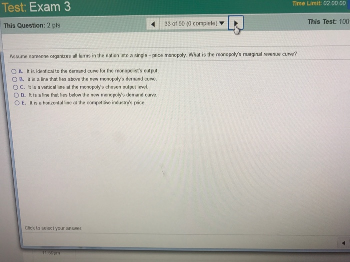 Question: Test: Exam 3 Time Limit: 02:00:00 This Test: 100 32 of 50 (0 complete) This Question: 2 pts The f...