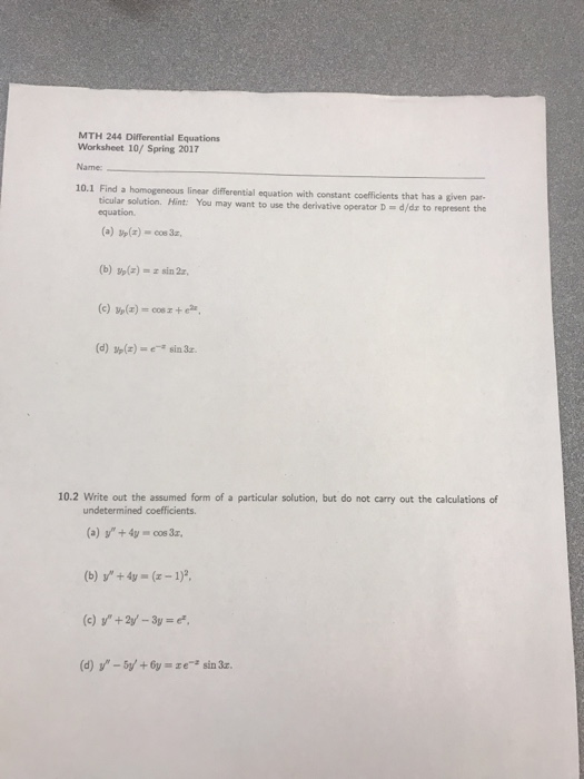 Find A Homogeneous Linear Differential Equation Wi – Differential Equations Worksheet