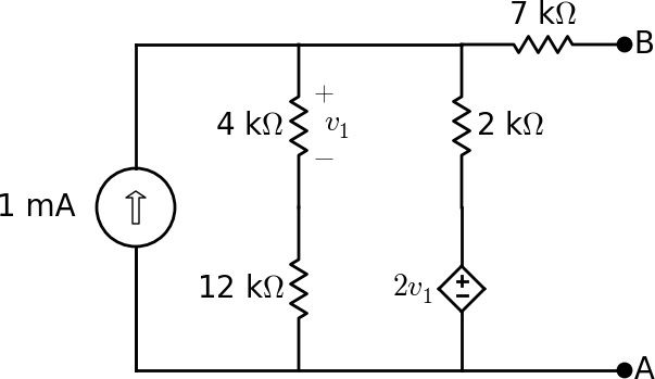 find the thevenin equivalent voltage  v th  and re
