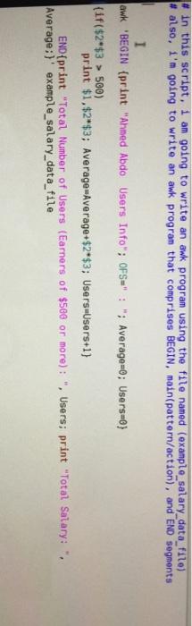 How to write an awk script