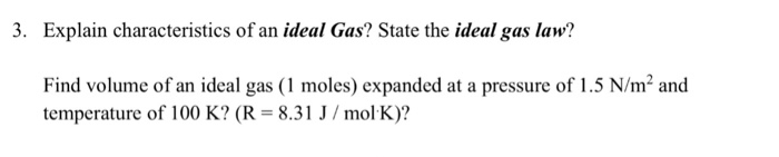 3 Explain Characteristics Of An Ideal Gas State – Ideal Gas Law Worksheet with Answers