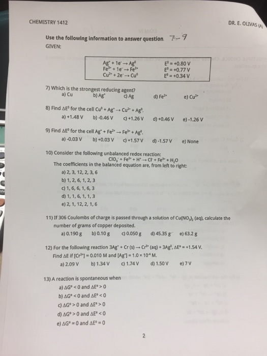 Chemistry archive december 06 2017 chegg chemistry 1412 dr e olivas 9 use the following information to answer question given fandeluxe Image collections