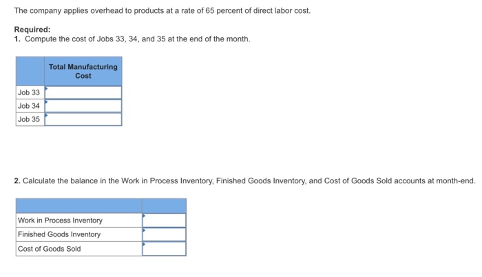 Show Transcribed Image Text Oak Creek Furniture Factory (OCFF), A Custom  Furniture Manufacturer, Uses Job Order Costing To Track The Cost Of Each  Customer ...