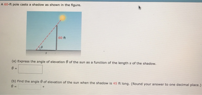 A Ft Pole Casts A Shadow As Shown In The Figure Cheggcom - Find your elevation