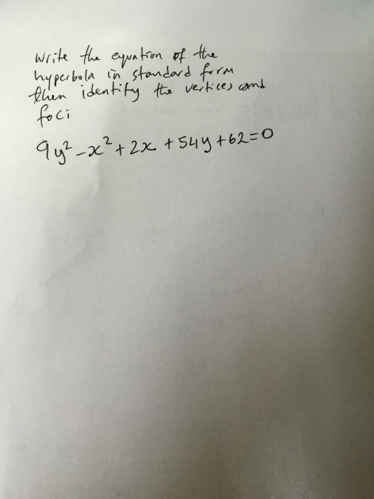 how to find vertices of hyperbola