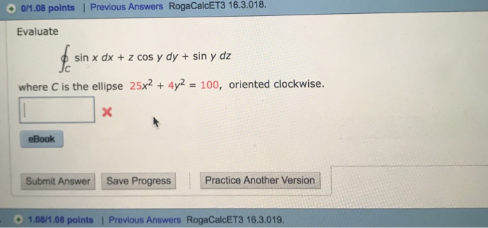 Advanced math archive november 04 2017 chegg 0108 points previous answers rogacalcet3 163018 evaluate sin x dx fandeluxe Gallery
