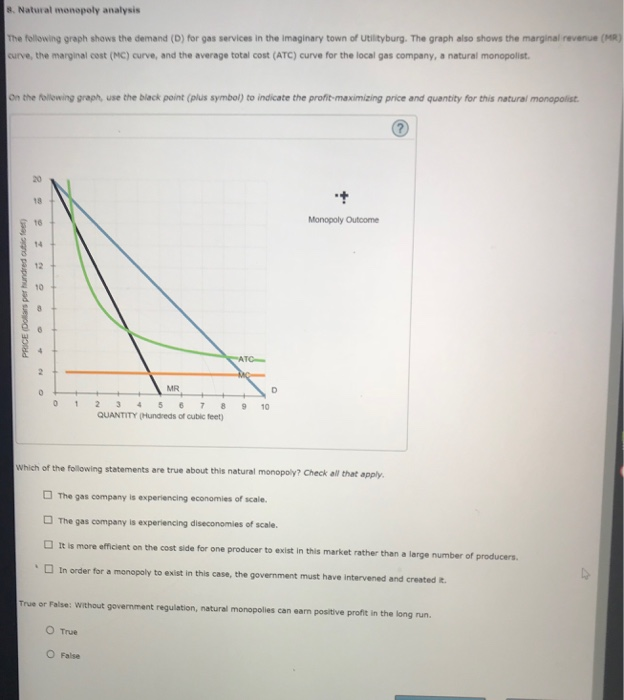 Solved 8 natural monopoly analysis the following graph s natural monopoly analysis the following graph shows the demand d for gas ccuart Gallery
