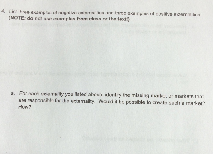 Solved List Three Examples Of Negative Externalities And