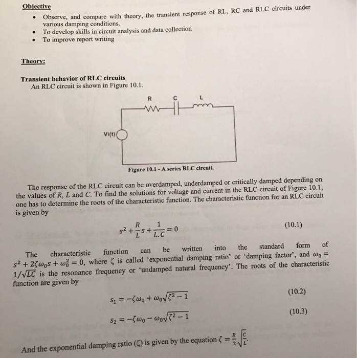and compare with theory the transient response