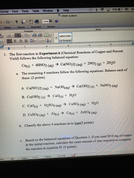 reactions of copper and percent yield Chemistry lab report (copper cycle) the percent recovery of copper in this experiment was 908% precipitation reactions yield a solid product that is insoluble.