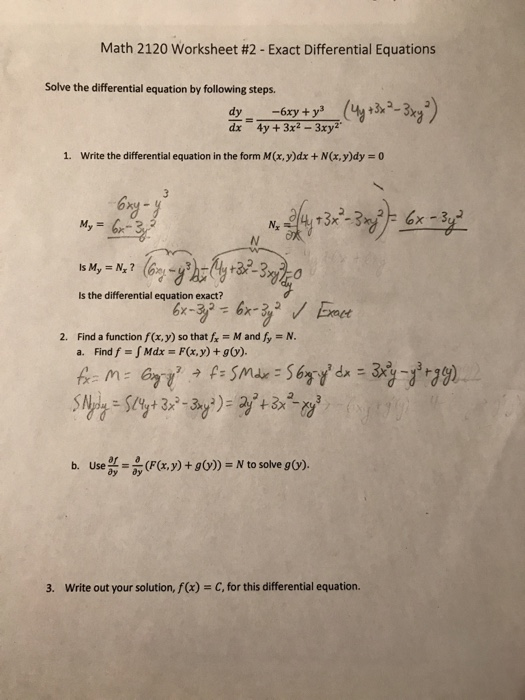 Math 2120 Worksheet 2 Exact Differential Equati – Differential Equations Worksheet