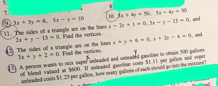 Solved: 3x + 5y = 6, 5x - Y = 10 5x + 4y = 50, 5x - 4y = 5 ...