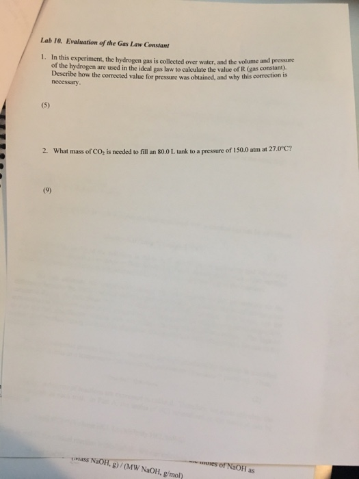 evaluation of the gas law constant