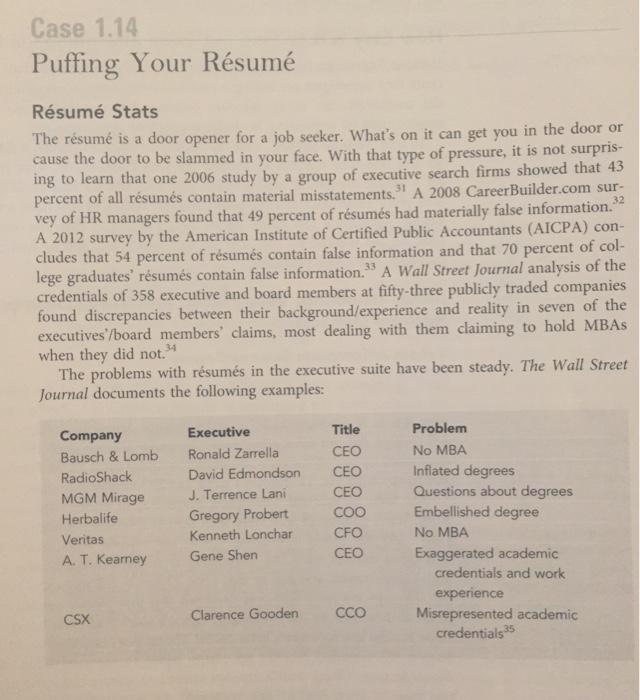 case 1 14 puffing your résumé résumé stats the chegg com