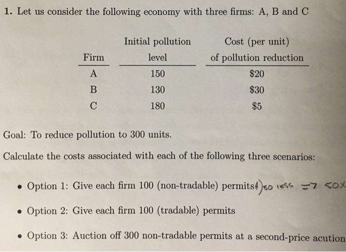 Question: Let us consider the following economy with three firms: A, B and C  Goal: To reduce pollution to ...