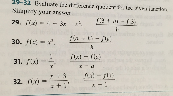 F X H F X H Calculus: Solved: Evaluate The Difference Quotient For The Given Fun