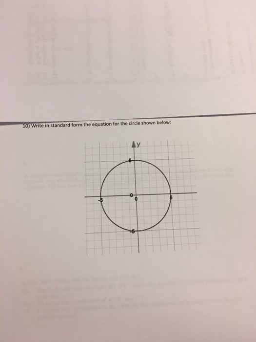 Solved Write In Standard Form The Equation For The Circle