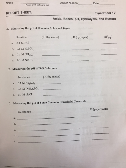 chemistry lab report using buffers Ap chemistry laboratory #19: the goals of this lab are to experiment with buffers and determine if prepare a buffer by using a 10 ml graduated cylinders to.