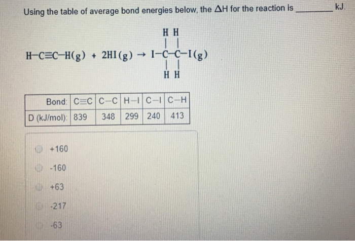 Using the table of average bond energies below th for Delta h table chemistry