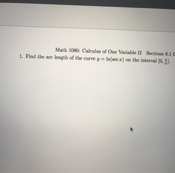 Calculus archive february 26 2018 chegg math 1080 calculus of one variable ii sections 81 1 find the arc length fandeluxe Gallery
