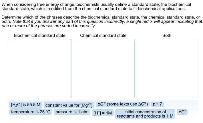 how to calculate standard state free energy change