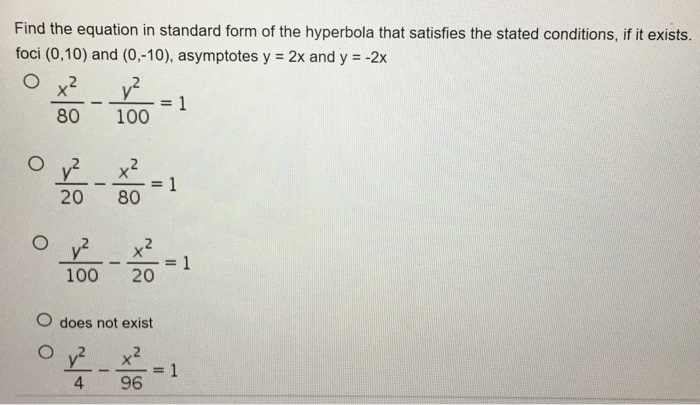 Solved Find The Equation In Standard Form Of The Hyperbol