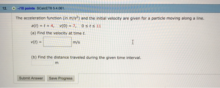 Distance Traveled By The Particle During The Time Interval
