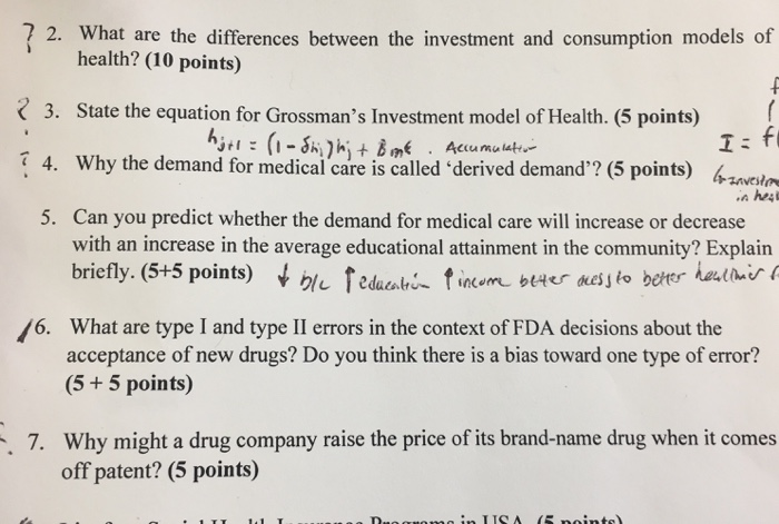 Question: What are the differences between the investment and consumption models of health?  State the equa...