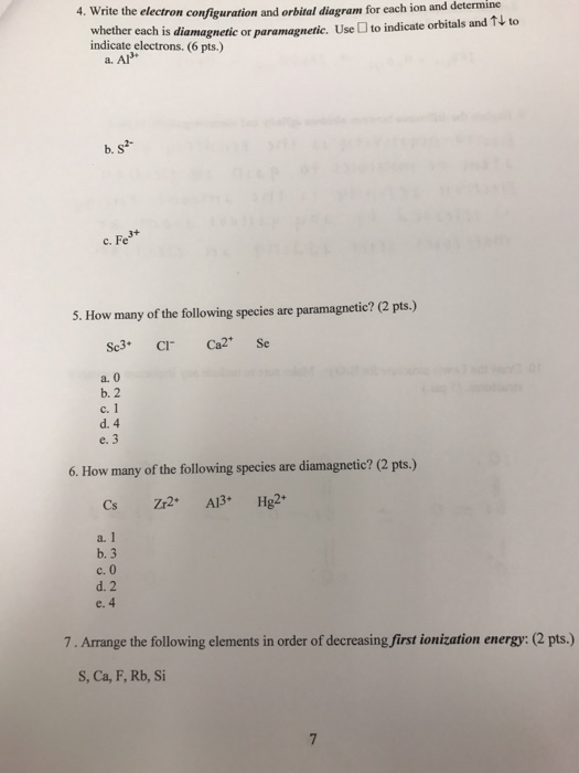 4  Write The Electron Configuration And Orbital Di
