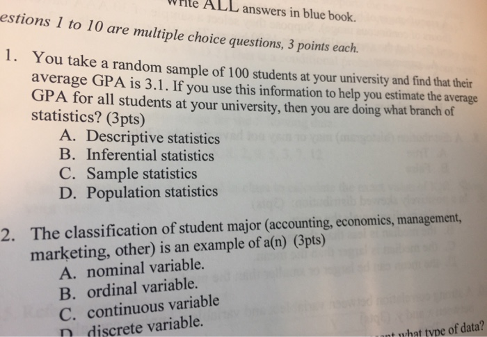 multiple choice questions on descriptive statistics with answers